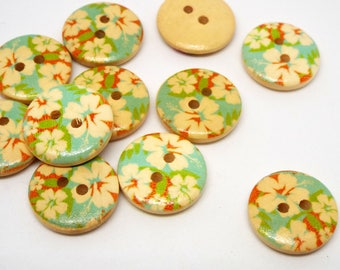 8 Wooden Floral Tropical Print 2 hole Buttons 18mm
