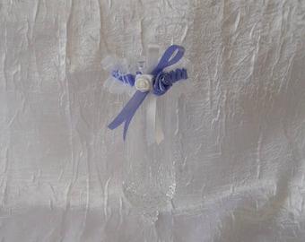 Mini Deco wedding garter customized lilac / white