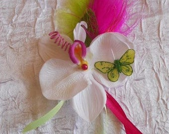 Fuchsia, lime green and white PIN or wedding boutonniere