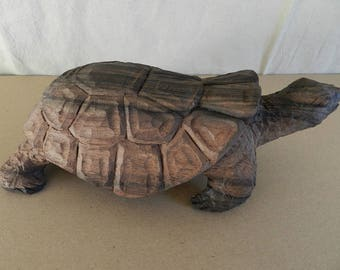 Giant turtle souvenir raw ebony wood sculpture from Africa