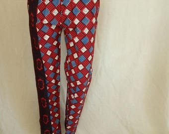 Red and blue beige unisex baggy pants
