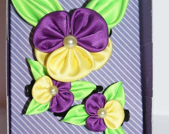 kanzashi - set of 2 mini clips croco elastic + gift box