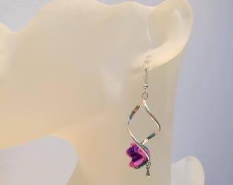 Original spiral Stud Earrings purple pink flower