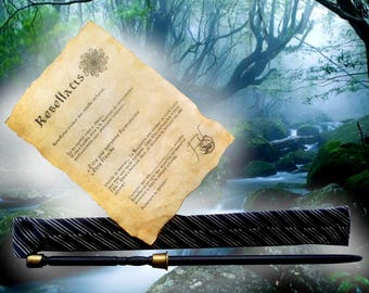Carved wooden wand, hand-made: Rebellatis (case + parchment gift!)