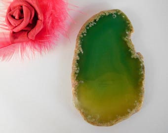 Green translucent agate slice pendant 80 x 47 x 0.4 mm