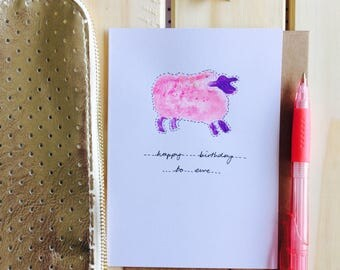 Happy birthday to ewe hand painted card pink