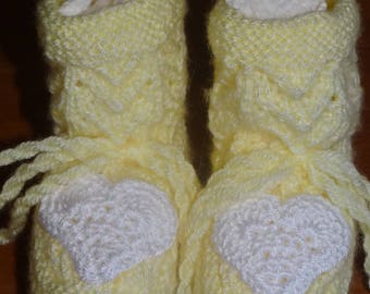 YELLOW BABY BOOTIES AND CROCHET HEART