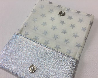 Money holder lined with cotton ecru patterns silver stars