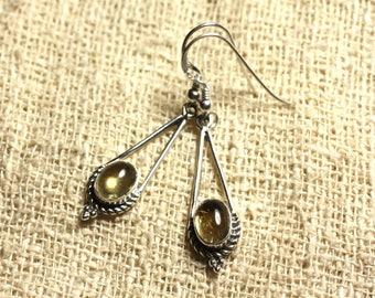 BO212 - 925 30mm Silver earrings - Citrine oval 9x7mm