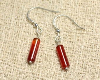 Earrings 925 sterling silver and carnelian stone - 12mm Tubes