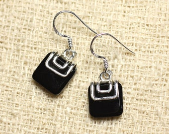BO217 - Earrings 925 sterling silver and stone - square 11mm black Onyx