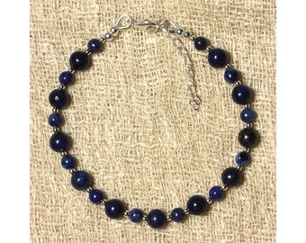 Lapis Lazuli 4 mm and 6 mm and 925 sterling silver beads bracelet