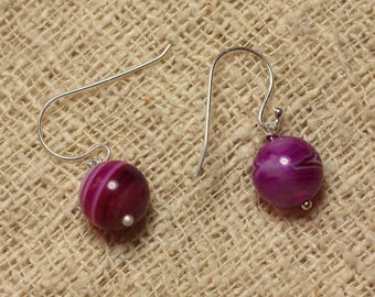 Agate Fuchsia and Silver 925 earrings