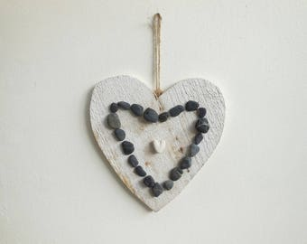 White weathered wood and pebble heart frame