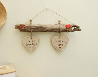 Hanging wall hearts - style cottage chic vintage