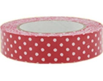 1 roll of fabric adhesive red (2) with white dots 5 meters