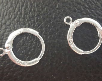 2 hooks attached earrings sleepers Silver 925