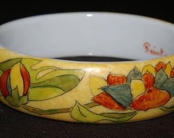 Your art deco yellow porcelain Bangle