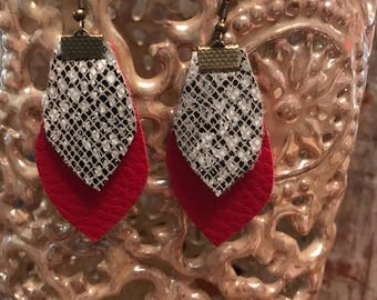 Red and Snake Print Leather Earrings