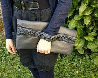 large gray faux leather wallet