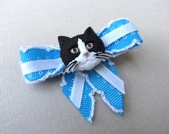 Black and White Cat Blue hair clip bow