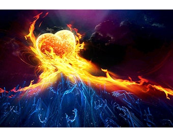 Burning Heart On A Blue Sea - Abstract Art Print - Digital Art Print - Abstract Art Poster