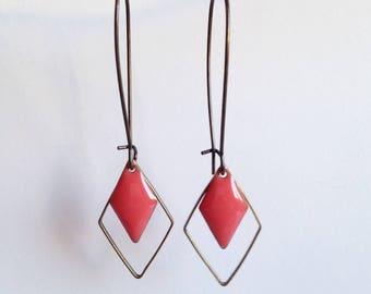 Earrings - Diamond - Pink