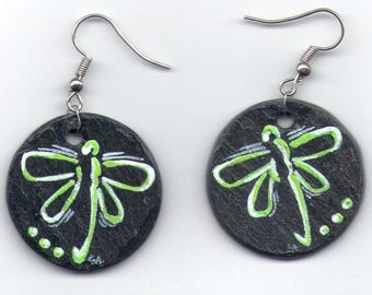Slate hand painted Dragonfly earrings