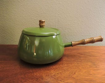 Mid-Century Green Fondue Pot Cookware