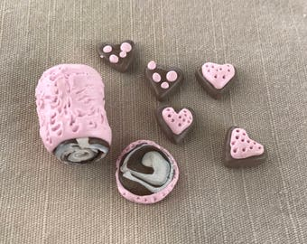 Pink cake and heart cookies