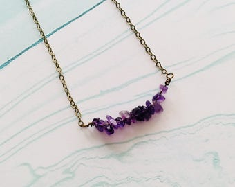 Amethyst bar necklace, minimalist necklace, gemstone necklace, purple necklace, holiday gifts