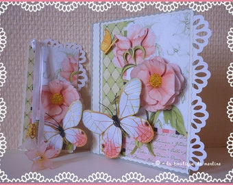 Card any occasion: hearts beads and Butterfly peony flowers