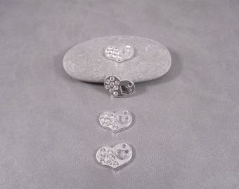 10 charms silver openwork heart rhinestones 17 x 12 mm T17