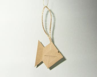 "Set of five decorative Christmas origami fish ""green"""