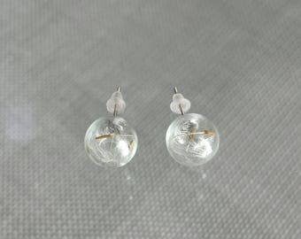 Earrings glass globes filled with dandelion