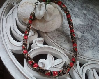Spiral crochet beaded necklace