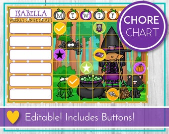 Halloween Editable Chore Chart, Reward Chart, Behaviour and Responsibility Chart, Witch Printable Chart, Task Chart, Toddler, Routine, Kid