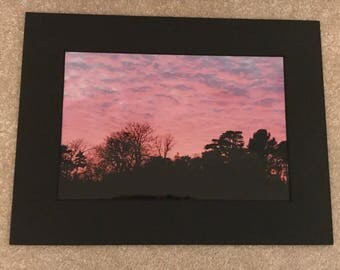Pink Sunset 12X8 photo in a black mounted frame