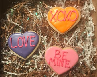 Valentine Conversation Hearts Cookies