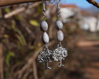 earrings with tree of life and job's tears