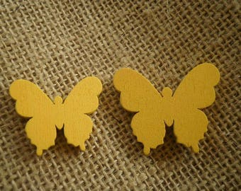 Set of 2 wooden butterflies painted yellow color, size 3 and 3.5 cm