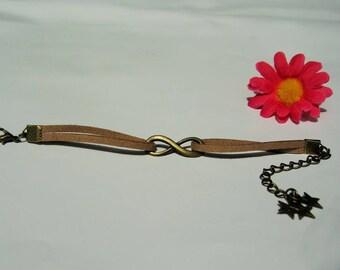 Infinity bracelet suede Brown