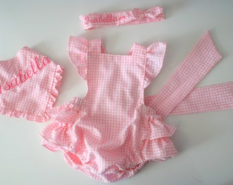 Baby pink gingham ruffle romper