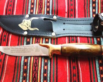 "Fixed Blade Hunter knife 8"" prinos handle hunting + sheath very sharp"