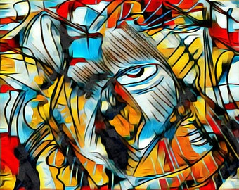 Abstract Art Print. Half Face