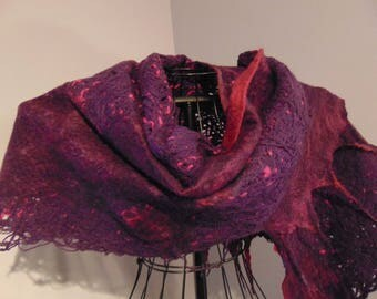 Hand Felted Shawl - Knitters Mind - Purple