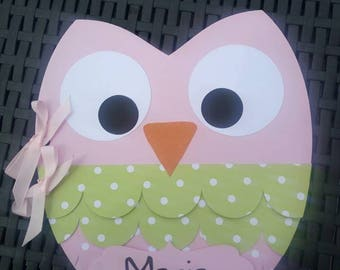 OWL guest book creation / original OWL and personalized wedding, baptism, communion 30 pages