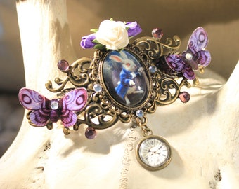 "Brooch/hair clip in metal color bronze, Steampunk Retro ""Rabbit from Alice in Wonderland"""