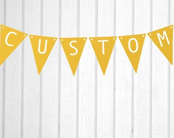 Yellow & White Custom Personalised Flag Bunting - Birthday Wedding Engagement Baby Shower Baptism Hens Bucks Farewell Party Banner Sign