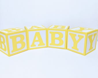 Yellow BABY Blocks for Baby Shower Decoration - Table Centrepiece - Nursery Room Decor